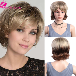 Tinashe Beauty Short 12 Inch Ombre Blonde Heat Resistant Fiber Wigs For Women Cheap Female Natural Wave Brown Cosplay Wig
