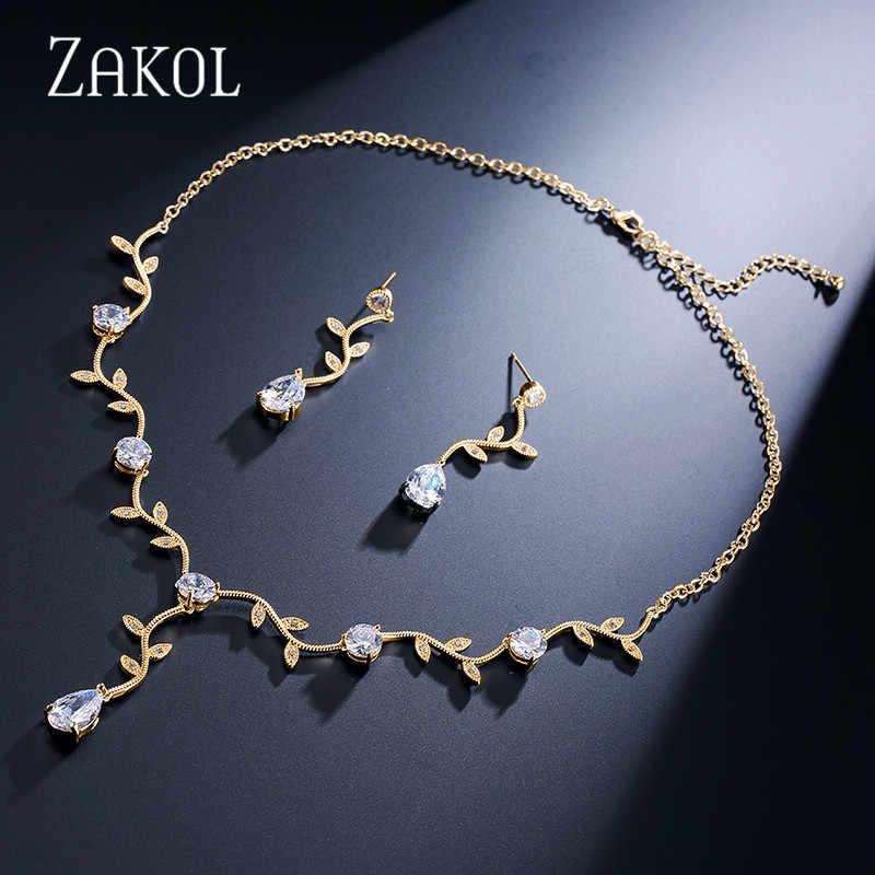ZAKOL Klassische Weiße Farbe/Rose Gold Farbe Zirkonia Geschenk Für Frauen Schmuck Sets Mit Elegante Anlage Bijoux FSSP233