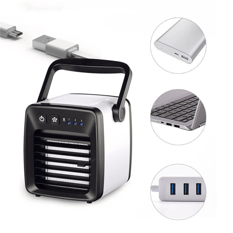 Mini Portable Air Conditioner Light Conditioning Humidifier Purifier USB Desktop Air Cooler Fan With 350ml Water Tanks Home