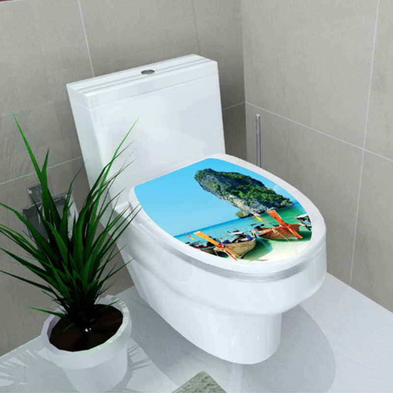 Sprzedaż hurtowa naklejki WC podwyższenie do toalety naklejka na pokrywę stołek do toalety komoda naklejka Home Decor Bathroon Decor 3D nadruk kwiat zobacz
