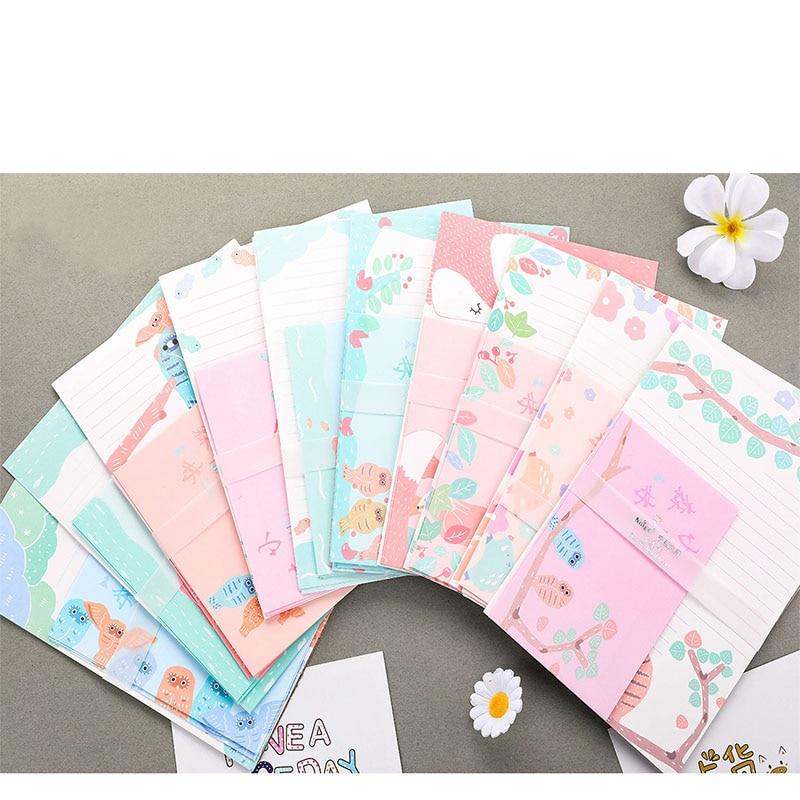 2sets Kawaii Forest Cartoon Big Size Writing Letter Envelop Beauty Spring School Office Students Paper Envelope Letters Pad Set