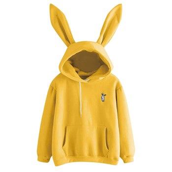 QRWR 2020 Autumn Winter Women Hoodies Kawaii Rabbit Ears Fashion Hoody Casual Solid Color Warm Sweatshirt Hoodies For Women 4