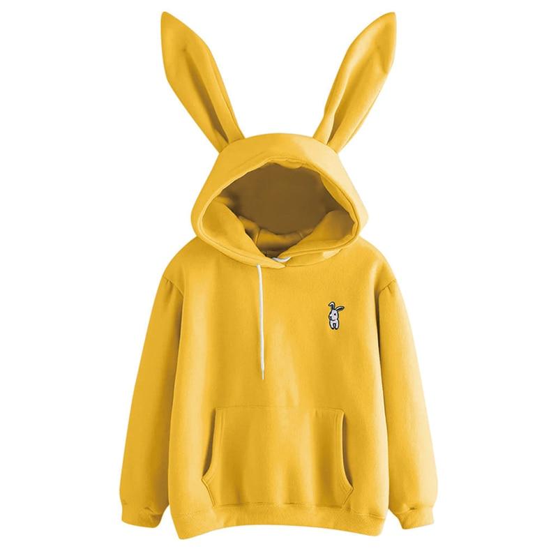 QRWR 2020 Autumn Winter Women Hoodies Kawaii Rabbit Ears Fashion Hoody Casual Solid Color Warm Sweatshirt
