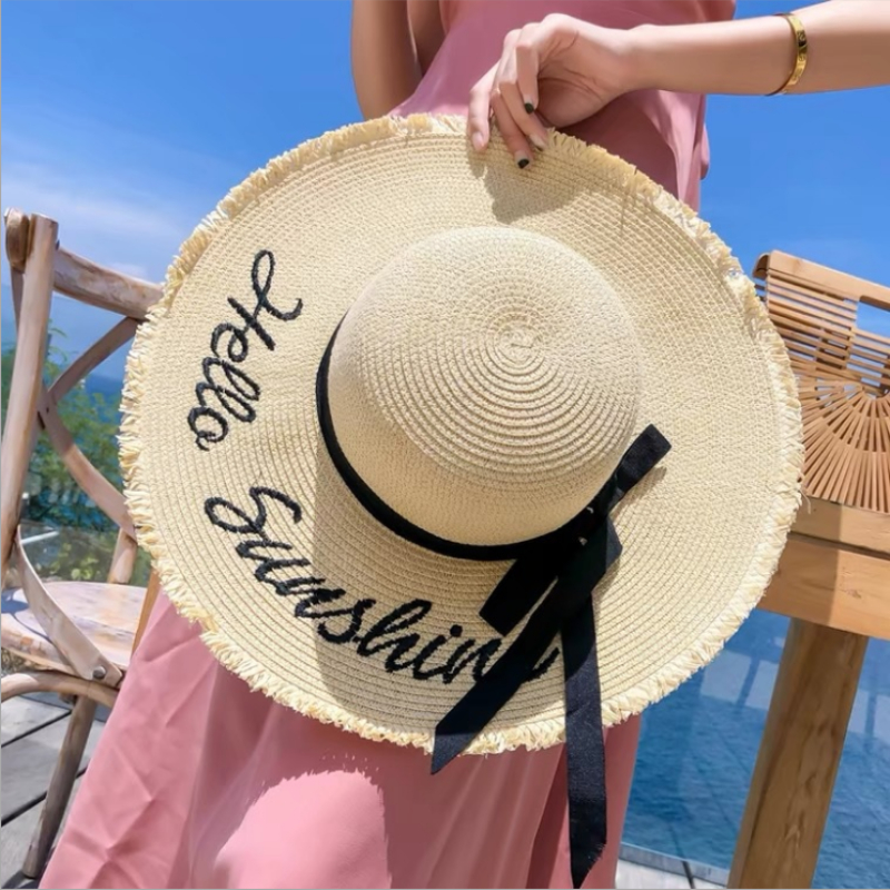 Handmade Weave Letter Sun Hats for Women Black Ribbon Lace Up Large Brim Straw Hat Outdoor Beach Hat Summer Caps