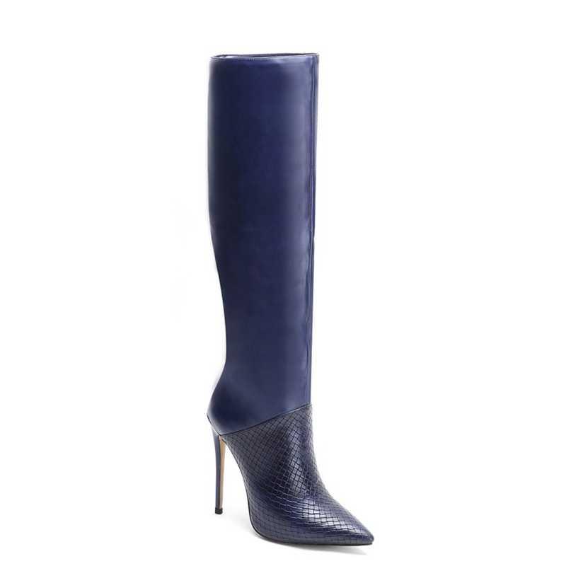 Yeni kadın ayakkabısı, çizmeler diz yüksek kış sonbahar bahar çizmeler sivri burun uzun çizmeler büyük boy 12CM 10CM yüksek topuk kadınlar için