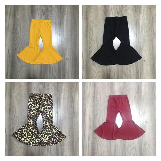 Girlymax fall/winter baby girls  children clothes cotton black wine mustard solid color ruffles bell-bottoms pants 1