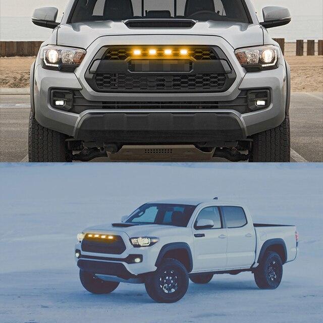Ijdm 6000k branco/âmbar 12v grade dianteira iluminação para carro 2016-2020 toyota tacoma com trd pro grill apenas grade dianteira iluminação drl