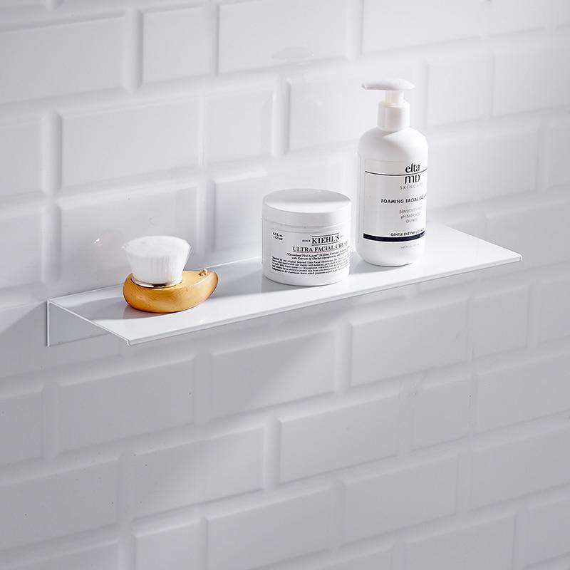 Nordic White Bathroom Shelf Wall Mount Space Aluminium Black Bathroom Shelf Square Shower Shelf Corner Storage Holder Shelves
