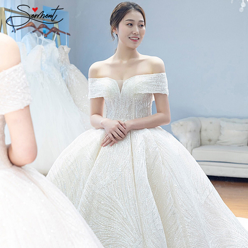 OLLYMURS Lace Luxury Simple Besoke Wedding Dress Sparkling Cathedral Train Lace Up Engagement Custom Made Plus Size