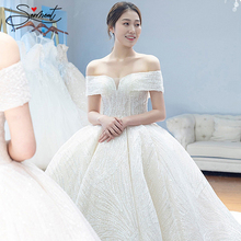 SERMENT Lace Luxury Simple Besoke Wedding Dress Sparkling Cathedral Train Up Engagement Custom Made Plus Size