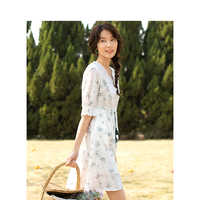 INMAN 2020 Summer New Arrival Pure Cotton Hollow Out Lace V-neck Nipped Waist A-line Hemline Literary Printed Dress