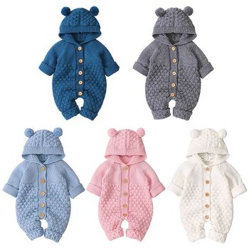 2020 Baby Knitted Hoodie Rompers Clothes Infant Boys Girls Long Sleeve Sweater Autumn Winter Newborn Warm Jumpsuits Outfits newborn winter baby rompers girls windproof rompers children warm outdoor rompers kids jumpsuits