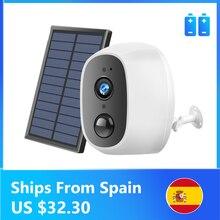 Energia solar de carregamento sem fio wi fi câmera 1080p 2mp hd ao ar livre câmera segurança ip vigilância externo painel solar