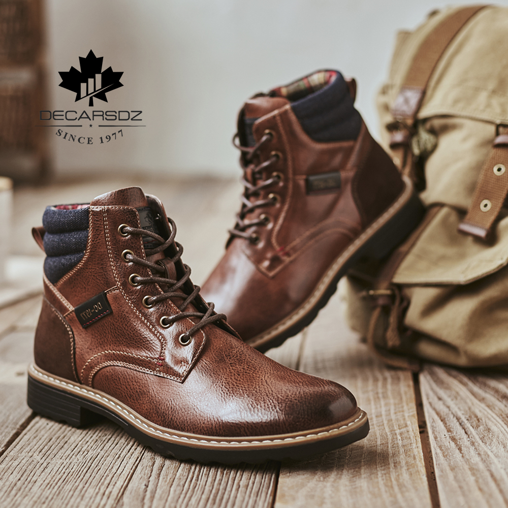 DECARSDZ Men Boots Comfy Lace-up High Quality Leather Men's Boots 2020 Autumn Fashion Shoes Man Durable outsole Men Casual Boots 2