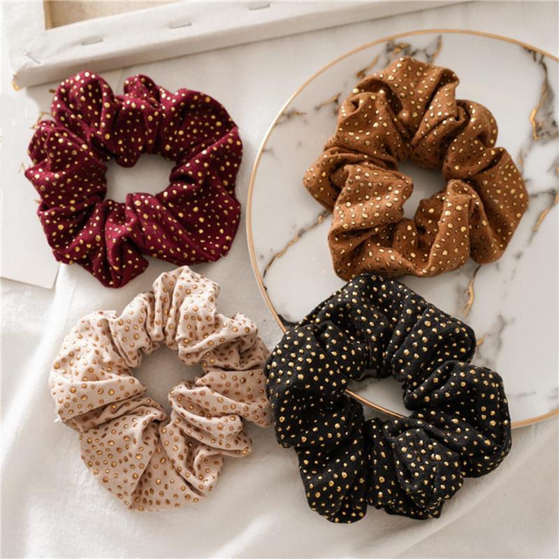 Women Ladies Hair Ties Gold Rivet Hair Ropes Elastic Hairband Scrunchies Ponytail Holder For Women Girl Hair Accessories