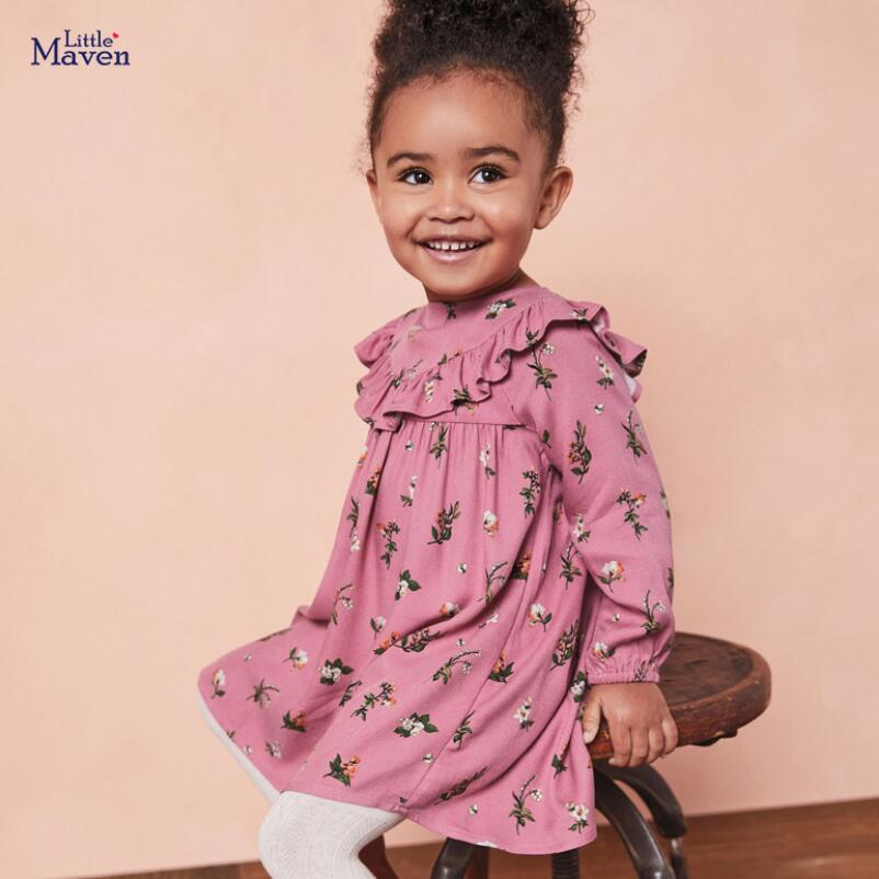 Little maven kids girls casual brand autumn children's dress baby girl clothes Cotton butterfly print toddler girl dresses S0843 2