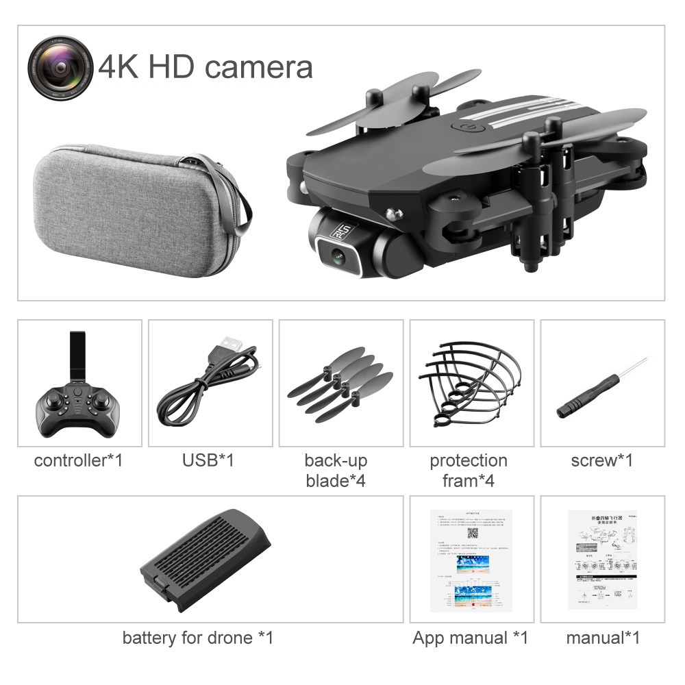 LS-MIN RC Drone FPV 4k HD Remote Control RC Quadcopter Drones Wide Angle Storage Foldable Quadcopter Toys w/ Camera & Screen