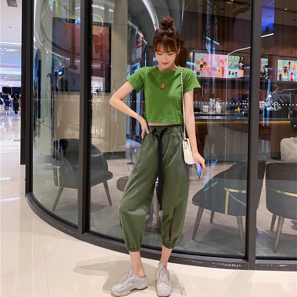 夏ニットツーピースセット女性半袖 Tシャツスーツ女性新パーソナリティスポーツカジュアルパンツグリーンスリム薄いショートセット