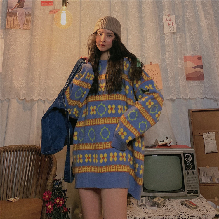 Retro Striped Women Sweater Pullover Tops Autumn Winter Thick Loose Long Sleeved Round Neck Harajuku Street Style Sweater Women