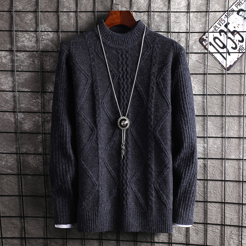 Black Sweater Men Wine Red Dark Grey Sleeve 2019 Long Sleeve Winter Pullovers O-Neck Casual Mens Sweaters