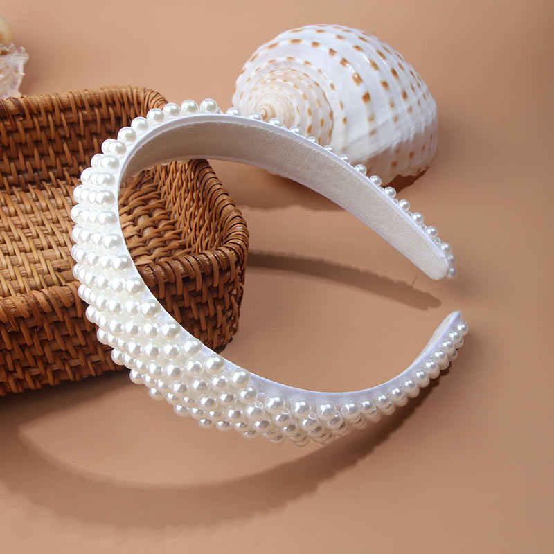 JJFOUCS luxe Imitation perle bande de cheveux pour les femmes cheveux cerceau accessoires large bandeaux fête mariage bandeaux gros chapeaux chaud