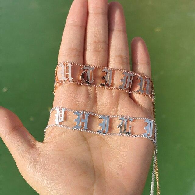 Фото новинка 2020 чокер с именем на заказ женское ожерелье медными цена