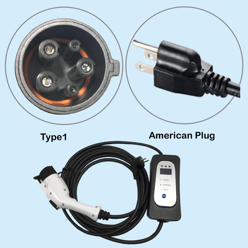EV Car Charger Type 1 Electric Charger With American Socket US Plug Input AC 110V-250V