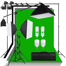 Green Screen Non-woven Background Support Stand Kit Cantilever Boom Arm 135W Light Bulb 50*70cm Softbox 4Pcs Backdrop Background