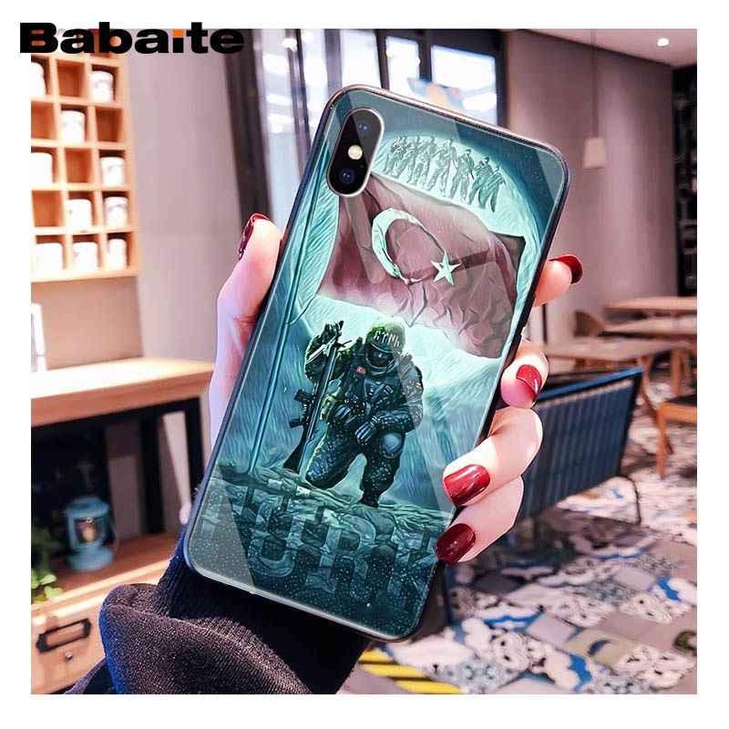 Babaite turquie drapeau soldat coque de téléphone en verre trempé pour iphone 11 Pro XS MAX XR 8X7 6S 6plus