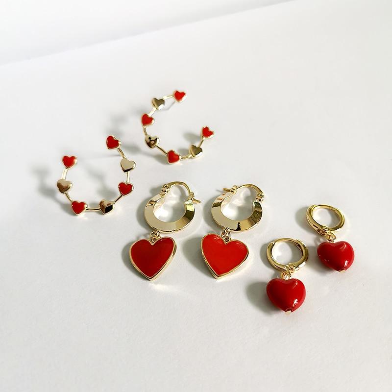 GHIDBK Dainty Red Heart Pendant Huggie Hoop Earrings Minimalist Statement Gold Charm Earring Circle Fashion Street Style Earring