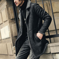 New Men's Artificial suede Leather Jacket Lamb lining winter coat Men leather pea coat genuine wool lining jacket men
