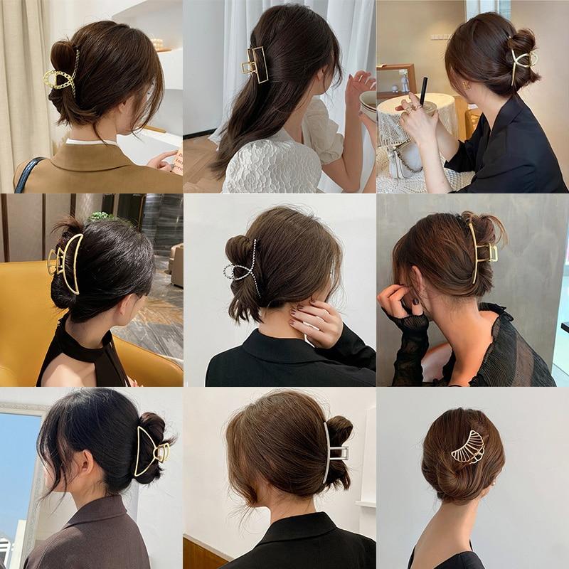 2020 Fashion Women Girls Big Hair Claw Hairpin Simple Geometric Metal Hair Accessories Crab Clamp Hairgrip Clip Headwear Jewelry