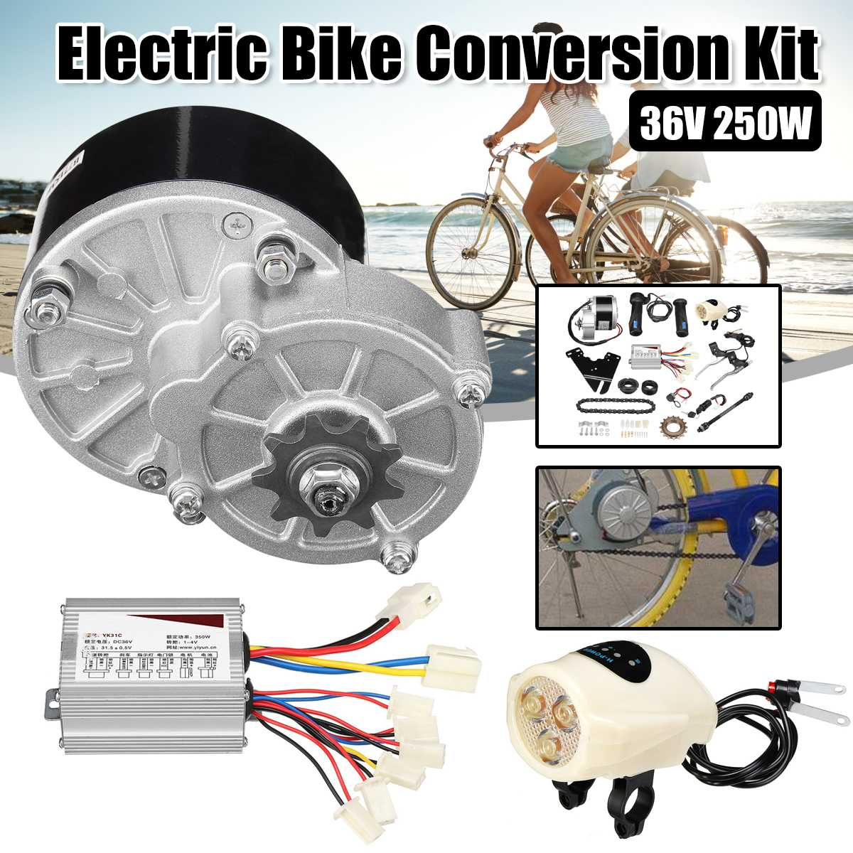 36V 250W Electric Bike Conversion Scooter Motor Controller Kit For 22-28inch Ord