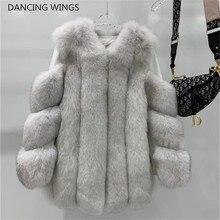 Neue Echt Fuchs Pelz Mäntel Frauen Echten Fuchs Pelz Dicke Warme Lange Jacke Mode Winter Damen Echtpelz Mantel Luxus