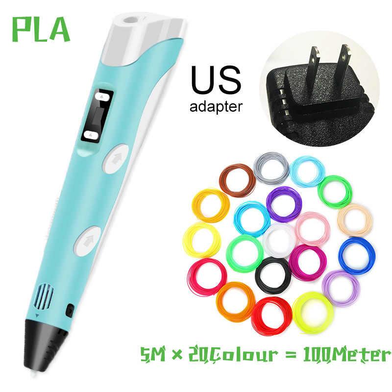 Bolígrafo 3D, bolígrafo de impresora 3D para dibujo con filamento de plástico de 100M PLA/ABS, adaptador USB, regalo de cumpleaños creativo, regalos originales