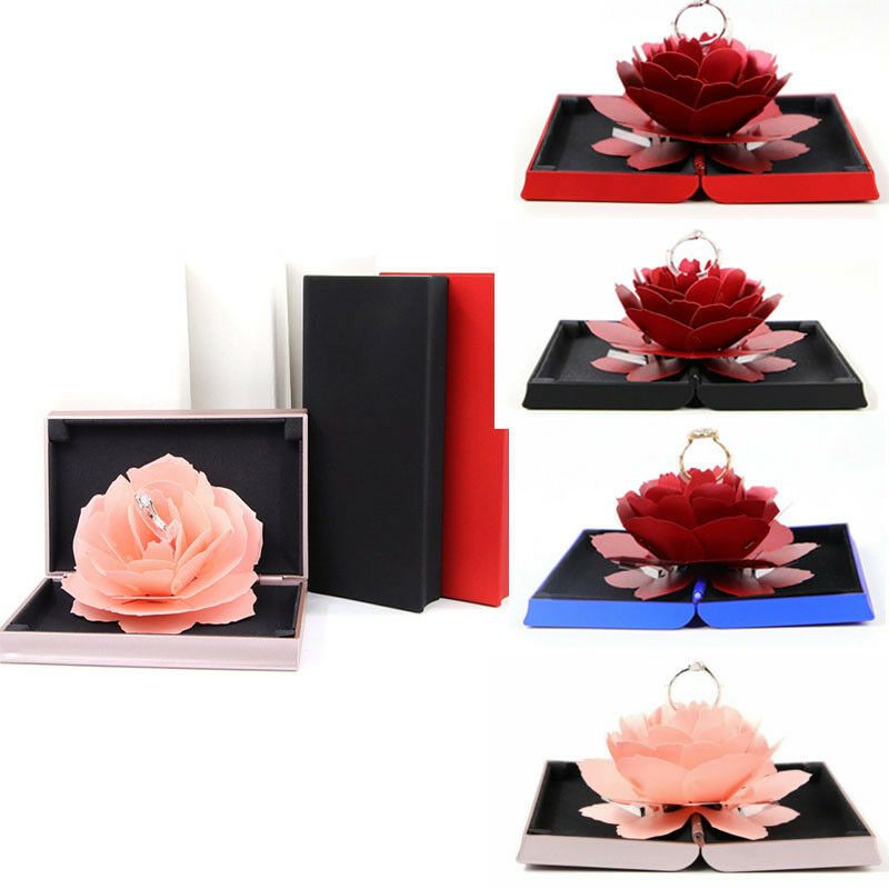Hot 3D Rose Ring Box Wedding Engagement Jewelry Storage Holder Case Bump Valentine's Day Romantic Gift Box