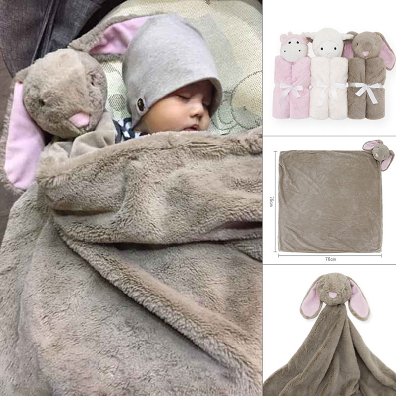 Babies Swaddle Baby Blanket Animal Head Toy Kids Sleeping 76x76CM Birthday Gift For Newborn Infant Soft Warm Coral Fleece Plush