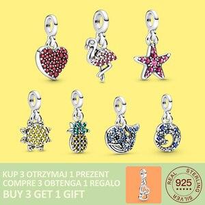 2020 New 925 Sterling Silver Heart Flamingo Pendant Charm Me Bracelet Fit Original Bracelet DIY Jewelry For Women