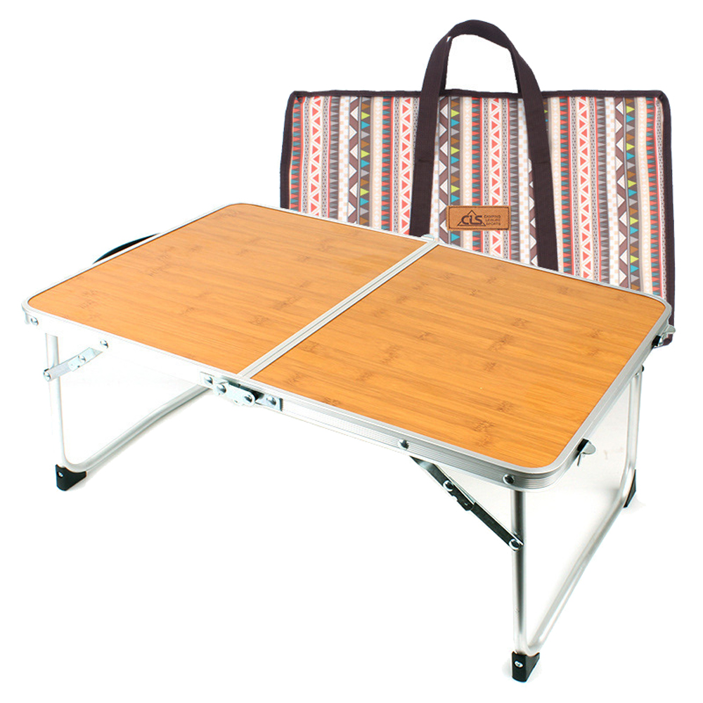 HooRu Camping Folding Table Lightweight Beach Handbag Aluminum Table With Carry Bag Outdoor Travelling Bamboo Laptop Desk
