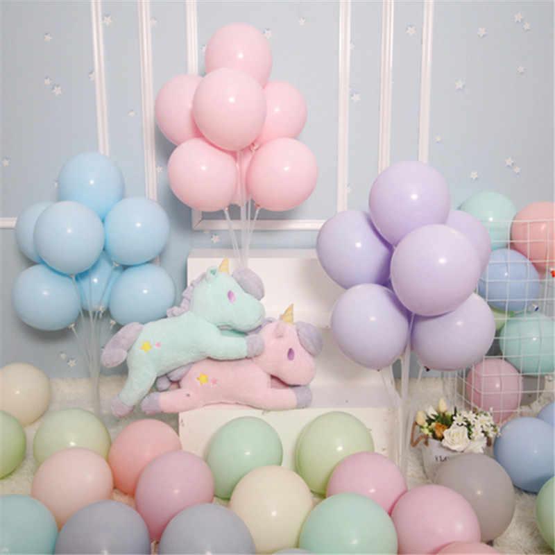 Macaron สี Latex Balloons10pcs 10 นิ้วเทศกาลวันเกิดตกแต่งบอลลูนที่มีสีสันหวาน PARTY แขวนตกแต่ง