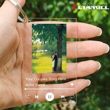 Flyangel personalizar capa do álbum, foto do casal, chaveiro acrílico, chaveiro da placa da música, sua música favorita memorabilia, presente de natal