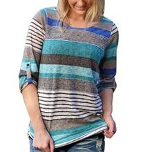 купить Fashion Striped Daily Shirt Loose 3/4 Sleeves Spring Women Blouse Round Neck Soft Tops Autumn Irregular Hem Casual дешево