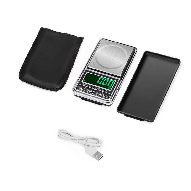 ميزان مجوهرات مصغر USB شحن الجيب موازين رقمية 100g/200g/300g/500g/1 كجم 0.01g مقياس وزن الميزان الإلكتروني الدقيق