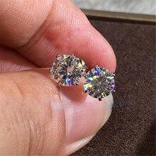 Vecalon solitaire серьги AAAAA Cz камень Настоящее 925 пробы серебряные массивные вечерние серьги-гвоздики для женщин Свадебные ювелирные изделия