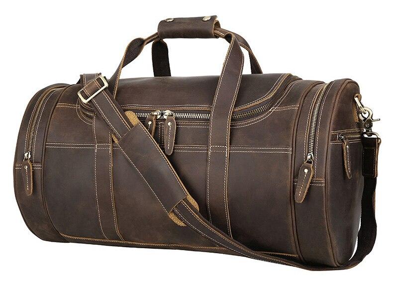 Luufan bolsa de viaje de cuero genuino para hombres bolsas de lona para viaje de negocios bolsa de fin de semana de hombre lejos de viaje bolso grande-in Bolsas de viaje from Maletas y bolsas    2