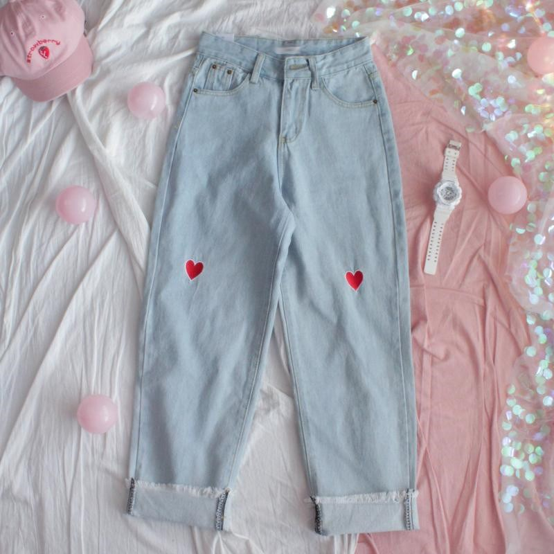 Women High Waist Wide Leg Jeans Harajuku Cute Heart Embroidery Denim Pants Wide Leg Pants Autumn Korean Style Femme Loose Jeans