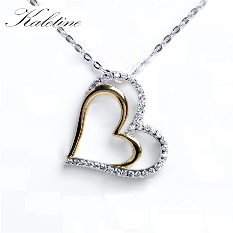 KALETINE Genuine 925 Sterling Silver Couple Heart Pendant Necklace Women New Two Tones Love Heart in Heart Presente do dia dos namorados