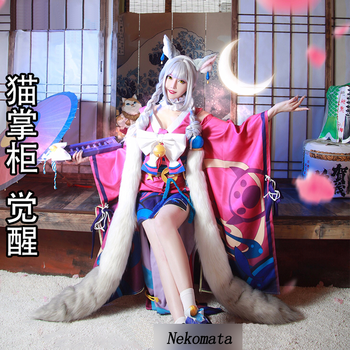 VEVEFHUANG Kосплей Anime! Onmyoji Cat Shopkeeper New Role Unawakening Lovely Kimono Lolita Dress Uniform Cosplay Halloween Party 2