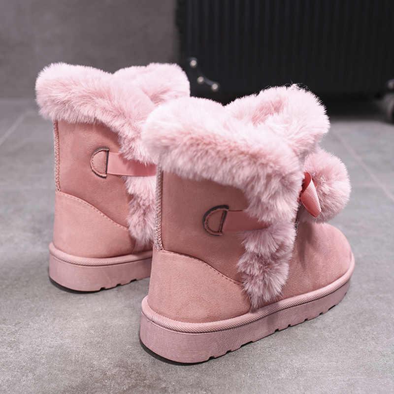2019 yeni rusya kış botları sıcak peluş kar botları çizmeler düz topuk kürk topu yay yumuşak konfor platformu pembe kürklü çizmeler kadın ayakkabıları