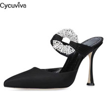 Sandals Runway Slippers Crystal-Shoes Desginer Slides Rhinestone High-Heels Sexy Silk